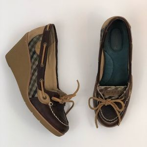 Sperry Top-Sider Wedges Brown Leather Blue Plaid